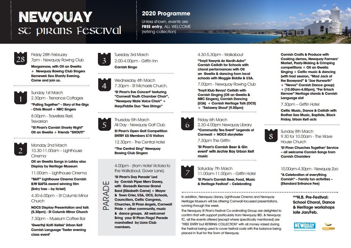 Newquay St Pirans Festival Programme 2020